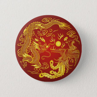 Gold Red Dragon Phoenix Chinese Wedding Favor 6 Cm Round Badge