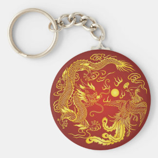 Gold Red Dragon Phoenix Chinese Wedding Favor Basic Round Button Key Ring