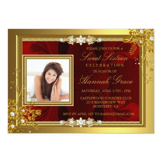 Gold & Red floral Photo Sweet Sixteen Invite