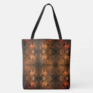 Gold Red Glass Sheen Tribal Style Warm Fiery Tote Bag