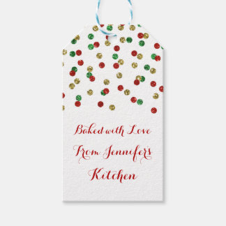 Gold Red Glitter Confetti Christmas Baking Tags