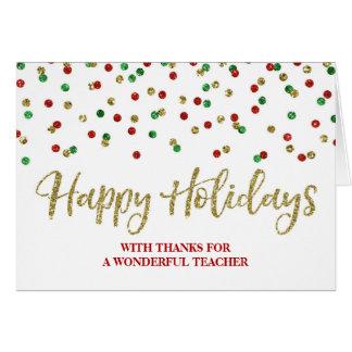 Gold Red Green Confetti Teacher Christmas Card