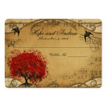 Gold  Red Heart Leaf Place Card Menu Selection
