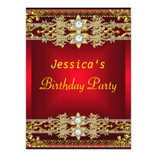 Gold Red Hot Glamour 21st Birthday Party 17 Cm X 22 Cm Invitation Card