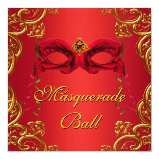 Gold Red Mask Red Masquerade Party 13 Cm X 13 Cm Square Invitation Card
