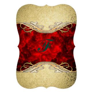 gold,red,metallic,modern,pattern,cool,elegant,chic 13 cm x 18 cm invitation card