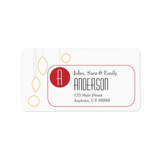 Gold & Red on White, Holiday Ornaments Label