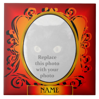 Gold Red Oval Photo Frame with Name Tile