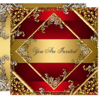 Gold Red Party Invitation Floral Frame