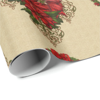 Gold Red Poinsettia & Wreath Damask Gift Wrap