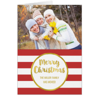 Gold Red Stripes Merry Christmas New Address Card