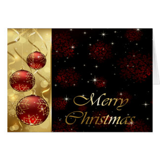 Gold & Red Twinkling Christmas Ornaments Card