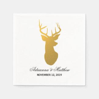 Gold Reindeer Antler Modern Silhouette Wedding Disposable Napkin