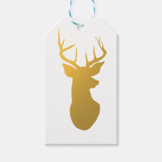Gold Reindeer Christmas Holiday Gift Tags