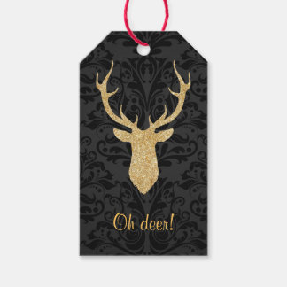 Gold Reindeer Head Silhouette Black Damask Gift Tags