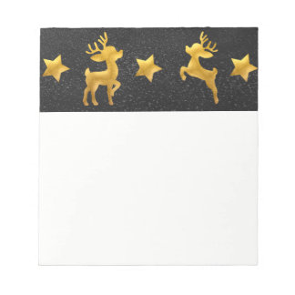 Gold Reindeer on Chalkboard Snow Notepad