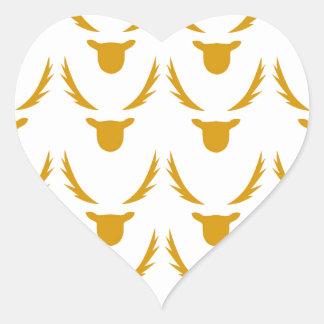 GOLD Reindeers on white Heart Sticker