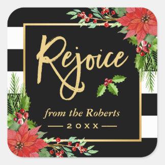 Gold Rejoice Script Religious Christmas Floral Square Sticker