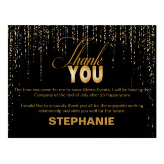 Gold Retirement Thank You Cards Postcard