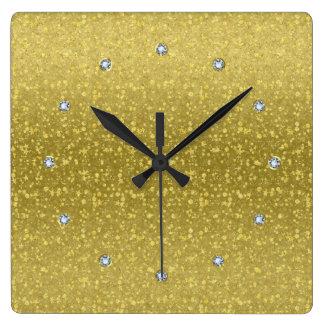 Gold Retro Glitter And Sparkles 2 Square Wall Clock