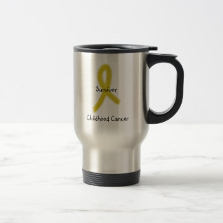 GOLD RIBBON 9-4-09, Survivor, Childhood Cancer Stainless Steel Travel Mug