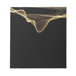 Gold Ribbon Abstract on Black Background Notepad