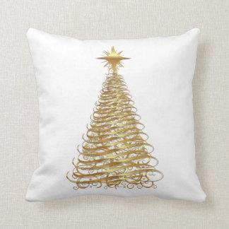 Gold ribbon christmas tree cushions