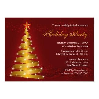 Gold Ribbon Christmas Tree Holiday Party Card