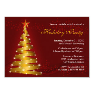 Gold Ribbon Christmas Tree Holiday Party Card