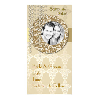 Gold Ribbon Save the Date Photo Card