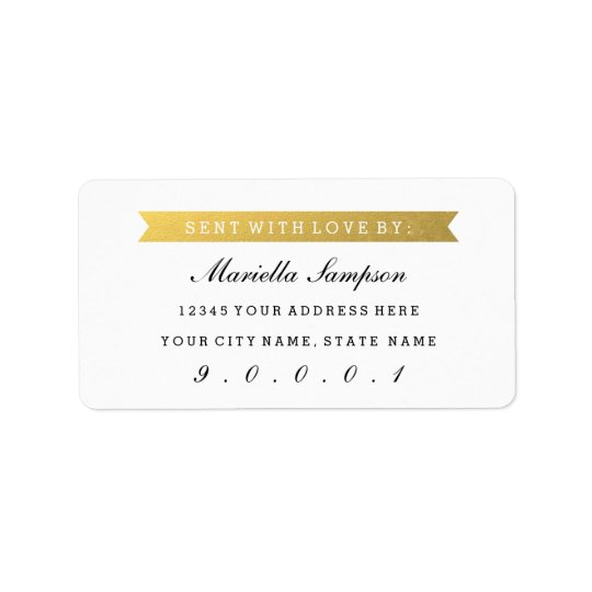 Gold Ribbon Sent to you From with Custom Address Label