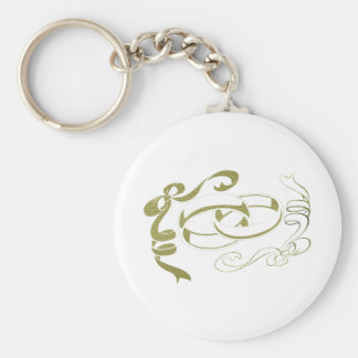 Gold Rings and Bows Art Basic Round Button Key Ring