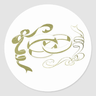 Gold Rings and Bows Art Round Sticker
