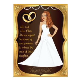 Gold Rings Bride Heart Brown Wedding Invitation