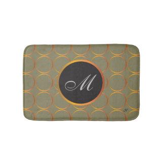 Gold rings monogram bath mat