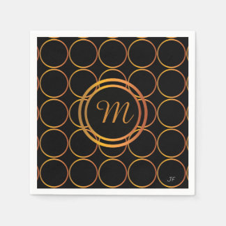 Gold rings monogram disposable serviette