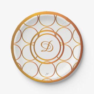 Gold rings monogram paper plate