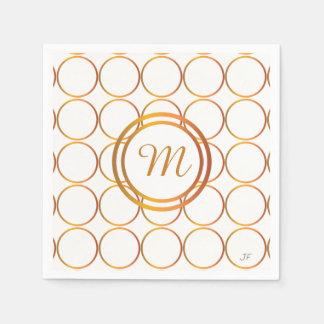 Gold rings monogram paper serviettes