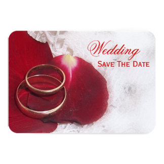 Gold Rings Rose Petals Save The Date Wedding 9 Cm X 13 Cm Invitation Card