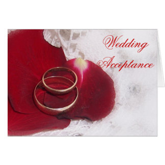 Gold Rings Rose Petals Wedding Acceptance Note Card