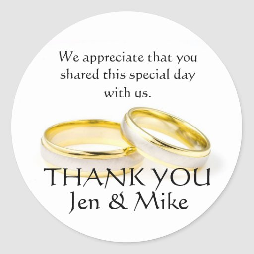 Gold Rings Thank You Wedding Favor Stickers
