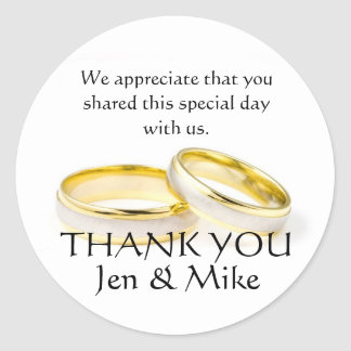 Gold Rings Thank You Wedding Favour Stickers