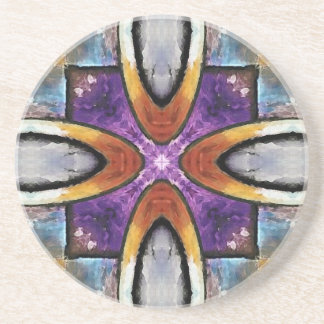 Gold Rings With Purple Tiles Drink Coaster