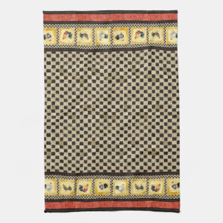 Gold Roosters Red & Tan Check Swirl Kitchen Tea Towel