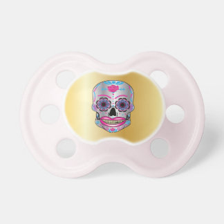 Gold Rose Candy Skull Pacifier
