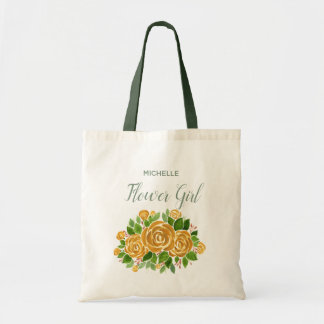 Gold Rose Flower Girl Tote Bag