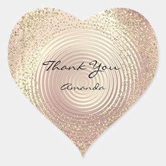 Gold Rose Glitter Beauty Name Glass Heart Thank Heart Sticker