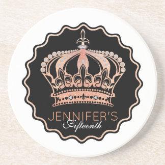 Gold Rose Glitter Crown Coaster