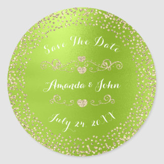 Gold Rose Glitter Save the Date Greenery Limon Classic Round Sticker