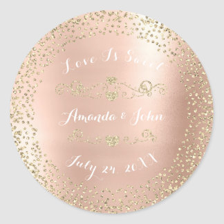 Gold Rose Glitter Save the Date Love is Sweet Glam Classic Round Sticker